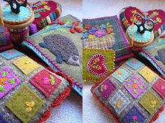 could use felted sweater+patches with needle felting+crocheted edging - balsam bag or pinchshion