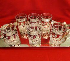 Set of 6 Vintage Hofbauer Byrdes Crystal Old Fashioned Bar Glasses Ruby Red Flash Glass. $174.00, via Etsy.