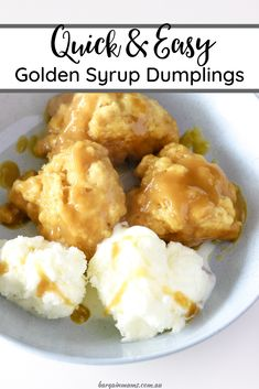 Golden syrup dumplings are the ultimate comforting dessert. There is no better way to enjoy a cold winters night than snuggling under a blanket with a warm bowl of sweet and sticky dumplings. Sweet Desserts, Easy Desserts, Sweet Recipes, Delicious Desserts, Dessert Recipes, Yummy Food, Tasty Snacks, Asian Desserts, Healthy Food