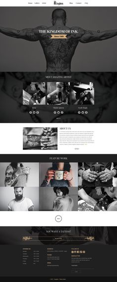 Buy Kingdom - Tattoo template PSD by jotran on ThemeForest. Kingdom is unique,clean,at and modern Template.Kingdom theme comes with 13 PSD files,base on grid system with . Website Layout, Web Layout, Layout Design, Website Ideas, Theme Forest, Grid, Tattoo Templates, Sports Website, Web Design Trends