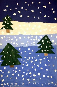 1st Grade - Value and Space - Tempera and construction paper.  Borrowed from the wonderful http://dalimoustache.blogspot.com/