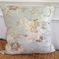 Blue Floral Pillow Cover 20 x 20 inch Pillow Cover Blue White