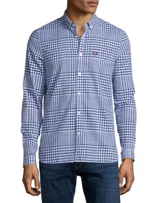 Large Plaid Oxford Shirt, Navy (Blue)/White - Fred Perry