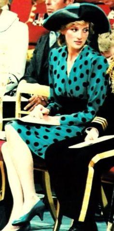 Princess Diana at Prince Andrew and Sarah Ferguson's wedding.