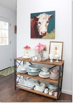Add storage in your kitchen with this rustic console table or shelf! Dagmar's Home, DagmarBleasdale.com