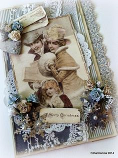 "Christmas card by LLC DT Member Heidi Augustson, using papers and image from Pion Design's ""Days of Winter"" challenge."