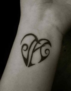 Tattoo on my wrist. A heart with the initials of my children, J and A.