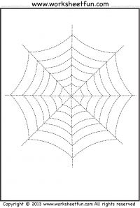 Spider Web Tracing and Coloring – 2 Halloween Worksheets