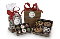 Chocolate Pizazz Gift Box offers the product variety of a gift basket uniquely packed in an attractive easy-to-carry gift box.  All you do is choose your favorite products for your gift box.  A ribbon appropriate for the season, occasion or in your corporate colors completes the package! It's like getting presents within a present!   www.chocolatepizazz.com