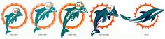 Evolution of Miami Dolphins logos with rumored new logo.