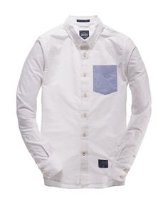 Mens - Half Term Oxford Shirt in Oxford White | Superdry