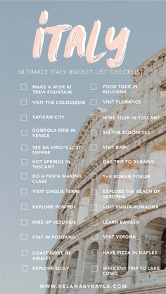 The Ultimate Italy Bucket List: Amazing Things To Do In .-The Ultimate Italy Bucket List: Amazing Things To Do In Italy Italy bucket list Italy Travel Tips, Travel List, Travel Goals, Travel Guides, Travel Bucket Lists, Paris Bucket List, Bucket List Life, Paris Travel Tips, Europe Bucket List