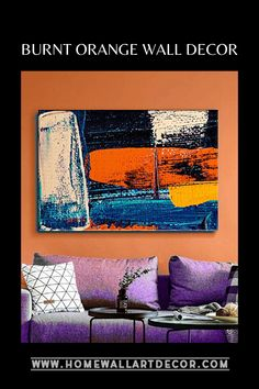 If you love bold colors and abstract prints then check out this edgy yet trendy burnt orange wall decor accent that has a worn distressed look Wall Decor Set, Canvas Wall Decor, Flower Wall Decor, Metal Wall Decor, Wall Decorations, Orange Wall Art, Orange Walls, Orange Home Decor, Spring Home Decor