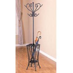 FOYER:  Sandy Black Finish Metal Coat Rack w/Umbrella Holder: Furniture & Decor