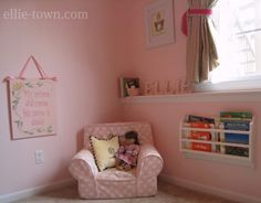 Reading Corner! I love the wall hanging quote!