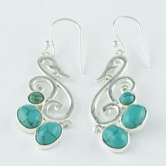 TURQUOISE STONE ANTIQUE DESIGN 925 SOLID STERLING SILVER EARRINGS #SilvexImagesIndiaPvtLtd #DropDangle