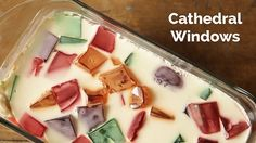 WATCH: How to Make Cathedral Windows Dessert - Gloria Buenaventura - WATCH: How to Make Cathedral Windows Dessert Cathedral Windows Jelly is a classic, fun Filipino panna cotta and gelatin treat with sweet and tart flavors. Jelly Desserts, No Cook Desserts, Summer Desserts, Just Desserts, Delicious Desserts, Yummy Food, Jelly Fruit, Cold Desserts, Summer Treats