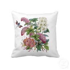 """Vintage Pink Botanical 20"""" X 20"""" Pillow-A timeless beauty is this vintage floral of various pinks with the added surprise of a colorful dragonfly."""