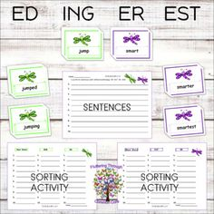 Inflectional Endings Word Endings ER EST ED INGPhonics Center Word Work Past Present Future PREVIEW TO LEARN  .ELA.RF.1.3.f 138 word cards Read words with inflectional endings ER EST ED ING Write words with inflectional endings ER EST ED INGUse the cards in pocket chartsUse the cards for wo... Inflectional Endings, Amy Lemons, First Grade Lessons, Sorting Activities, Kindergarten Worksheets, Daily 5, Word Work, Second Grade, Teacher Resources