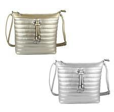 3aad5018de Borsa da donna look metallizzato a tracolla argento oro Borsa a tracolla in  pelle PU Bag
