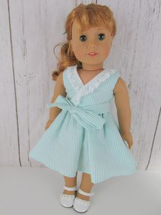 """Mint Green Christmas Nightgown made for 18/"""" American Girl Doll Clothes"""