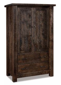 Amish Rough Sawn Brown Maple Wood Vandella Armoire For a country style or rustic bedroom, the Vandella is perfect. Rich sold brown maple wood wears rough sawn distressing for this bedroom storage. Choice of stain or paint as well as hardware and option to add soft close drawers. #armoire #woodarmoires #Amishfurniture #bedroomstorage