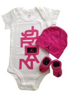 Baby Girl Jordan Clothes Extraordinary Nike Air Jordan Infant Baby Girl 3 Pc Set Bodysuit Hat Bootiesnwb0 Inspiration Design