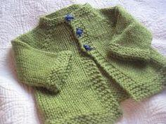 Newborn cardigan. Free knitting pattern. Pattern category: Baby Cardigan. Aran weight yarn. 150-300 yards. Features: Seamless, Top-Down. Intermediate difficulty level.