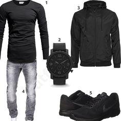 Lässiger Herren-Look mit Crone Longsleeve, Merish Jeans, schwarzem Windbreaker, Fossil XXL-Uhr und Nike Sportschuhen. Jetzt ansehen!