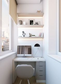 a small workspace in the balcony, a built-in desk and shelves with lighting
