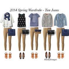 """Spring Wardrobe - Tan Jeans"" by bluehydrangea on Polyvore"
