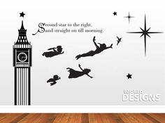 Peter Pan Wall Mural Second Star to the Right Quote Wall Decal Sticker SKU0134 via Etsy