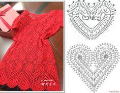Filet Crochet Charts, Crochet Motifs, Crochet Diagram, Crochet Squares, Crochet Stitches, Crochet Patterns, Lingerie Crochet, Bikini Crochet, Crochet Blouse