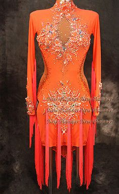 L3761 Cocktail Latin samba salsa swing dance dress US 6 orange sleeve fringes