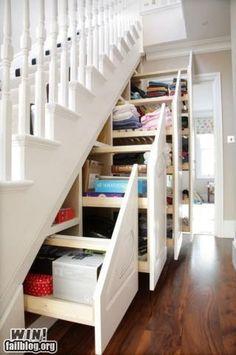 built in storage under staircase