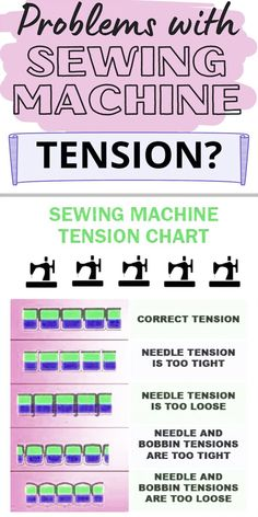 Having problems with your sewing machine tension? Check out these tips on tension adjustments. There is a sewing machine tension chart, free printable. Learning sewing machine tension settings can seem overwhelming, but it is a foundational sewing skill that need for your beginner sewing projects. This sewing tutorial will explain what sewing machine tension problems are, why we need to adjust it, and how to find the right tension settings for your project. Sewing For Beginners Diy, Sewing For Dummies, Sewing Basics, Sewing Tips, Sewing Hacks, Sewing Tutorials, Sewing Ideas, Sewing Machine Tension, Sewing Machines