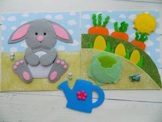 Quiet book PDF pattern Bunny and garden, Quiet book PDF templates made of felt, Quiet book page ideas Pattern PDF Bunny Templates, Quiet Book Templates, Quiet Book Patterns, Sock Dolls, Felt Dolls, Rag Dolls, Felt Doll Patterns, Pdf Patterns, Farm Animals For Toddler