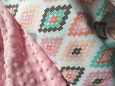 Baby Girl Blanket, Minky Blanket, Coral & Mint, Stroller Blanket, Southwestern Print, Tribal Blanket, Aztec Print Baby