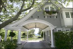 Porte cochere, Seaside cottage in Watch Hill Porte Cochere, Interior Exterior, Exterior Design, New England Homes, New Homes, Porches, Architecture, My Dream Home, Curb Appeal