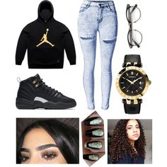 ' Jordans  by fashion-1407 on Polyvore featuring October's Very Own, Versace and NIKE