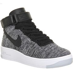 Nike Air Force 1 Mid Flyknit ($120) ❤ liked on Polyvore featuring shoes, sneakers, nike, trainers, black white w, hers trainers, white and black shoes, woven sneakers, nike shoes and flyknit sneakers
