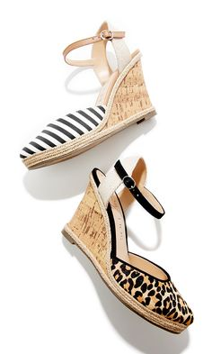 Platform espadrille wedges in stripe and leopard prints | Sole Society Lucy
