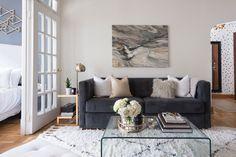 Bold sofa and marble art: http://www.stylemepretty.com/living/2016/09/08/from-empty-apartment-to-killer-bachelorette-pad-for-under-5k/ Photography: Laura Metzler - http://www.laurametzler.com/