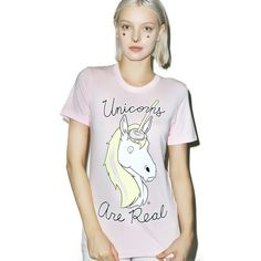 Unicorns Are Real T-Shirt ($17) ❤ liked on Polyvore featuring tops, t-shirts, white top, unicorn tee, white tee, graphic tees and graphic print tees