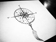 compass feather drawing - Google Search