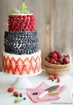 A Berry Covered Wedding Cake | from thekitchenmccabe.com | seen on BrendasWeddingBlog.com