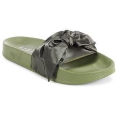 PUMA FENTY Puma x Rihanna Satin Bow Slides Sandals ($90) ❤ liked on Polyvore featuring shoes, sandals, puma shoes, puma footwear, army green shoes, slip on shoes and satin shoes