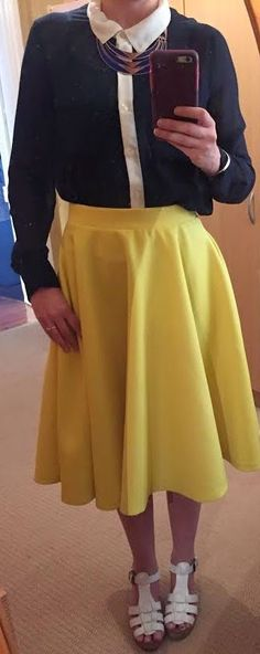 The Girl With Nothing to Wear: Navy shirt, yellow skirt, work style, spring style