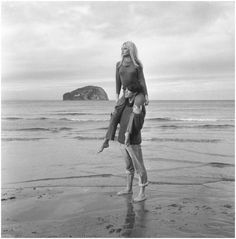 Laurent Terzieff and Brigitte Bardot at North Berwick, Scotland, in a scene from the film 'Two Weeks in September