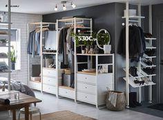 Open Wardrobe Systems - Open Storage Systems - Floor to Ceiling Storage - IKEA Ikea Closet, Closet Bedroom, Home Bedroom, Bedroom Decor, Ikea Open Wardrobe, Dressing Pas Cher, Dressing Ikea, Elvarli Ikea, Dressing Design